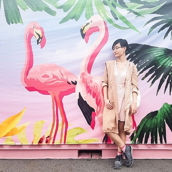 Ren Rong - Owndays Glasses, Cotton On Dress, Zalora Parka, Mango Bag, Timberland Shoes - In Pink