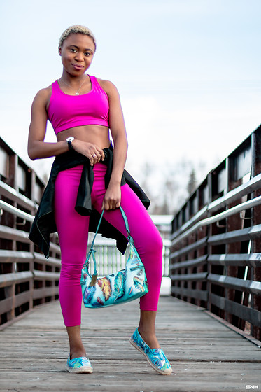 Louisa Moje - Pink Active Sports Bra, Nokia Black Fitness Activity Watch, Lark & Ro Black Scuba Leather Jacket, Justfab Pink Bow Detail Active Leggings, Anuschka Handpainted Multicolored Leather Hobo Purse, Anuschka Han Painted Printed Leather Espadrille Loafers - Athleisure: Two-Piece Workout/Errand Outfit