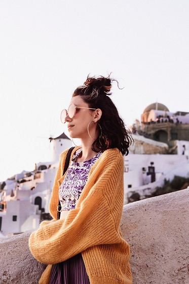 Wonderstyle - H&M Cozy Yellow Cardigan Which Was A Sweater, But Cutted And Tirned Into A Cardigan. By Me., Primark Round Red Sunglasses, Adalia Atelier Custom Made Top, Bershka Comfy Pleated Skirt Pants - Santorini Мemories
