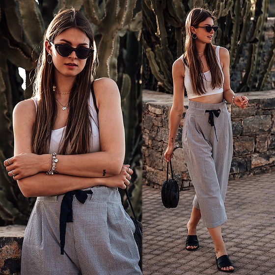 Jacky - Chimi Sunglasses, Vila Pants - How I combined striped pants and a crop top