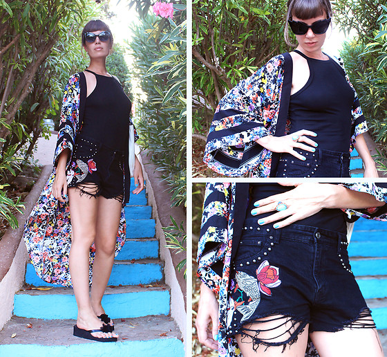 ♡Nelly Kitty♡ - H&M Floral Kimono, Pull & Bear Black Bodysuit, Pull & Bear Embroided Denim Shorts, Zaful Cat Eyes Shades - OOTD#40