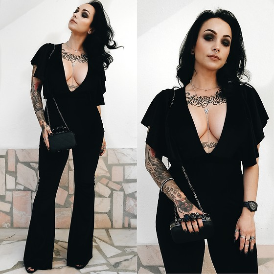 Priska Gomez - Rokoko Black Velvet Jumpsuit, Asos Silver Necklace, Black Brass Knuckle Bag - Velvet Heart
