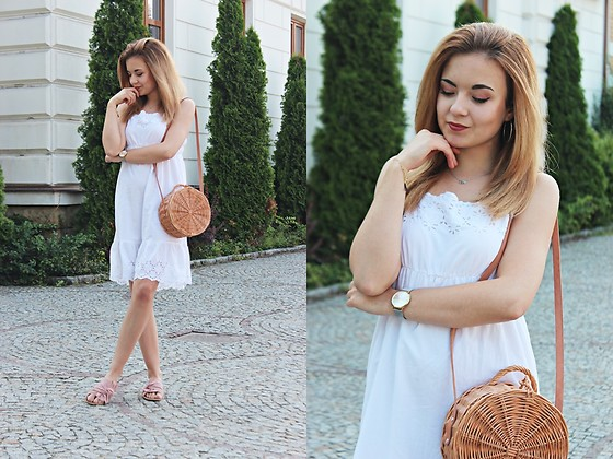 Sabina S. -  - WHITE DRESS & WICKER HANDBAG