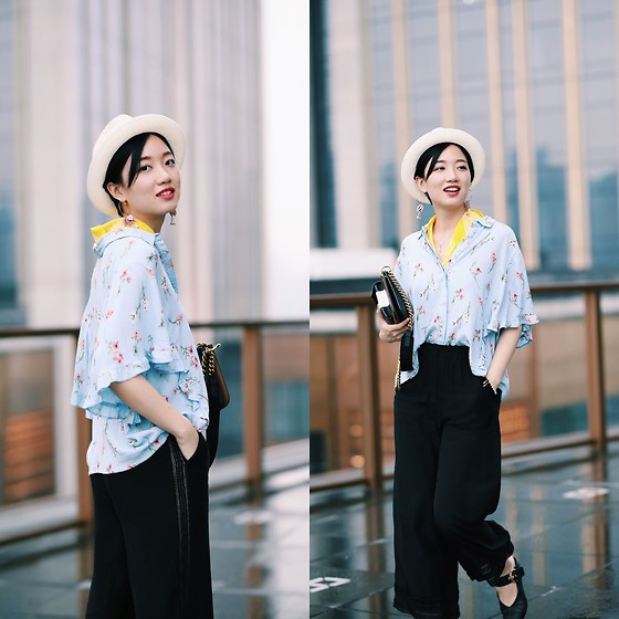 Yueming - Mossant Straw Hat, Zara Yellow Scarf, Topshop Shirt, Luxseven Shoes - The Bright In Summer