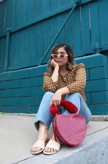 Yuka I. - Polka Dot Blouse, Levis Jeans, Sandals, Heart Bag, Sunnies - Queen of hearts