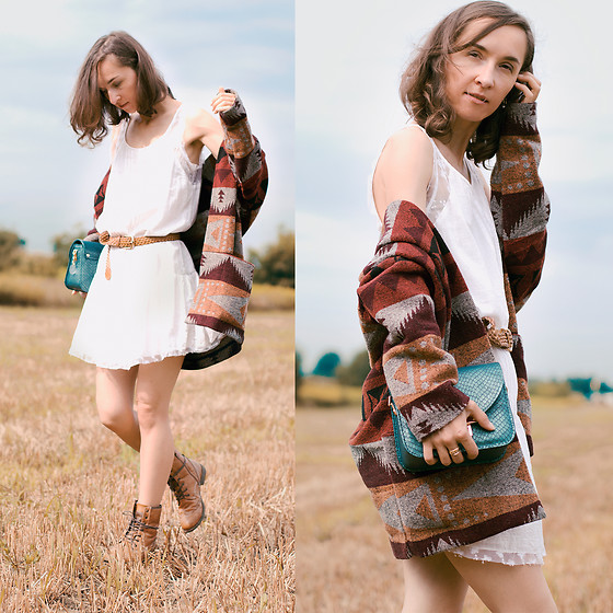 Iva K - Pull & Bear Dress, Bershka Jacket - White mini dress