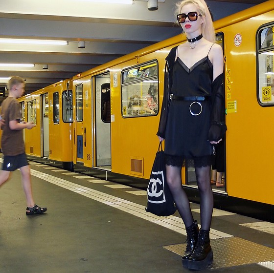 Emmalynn V - Jeffrey Campbell Shoes Boots, Chanel Drawstring Bag, Gucci Flip Up Sunglasses, Zara Lace Slip Dress - Mercedes-Benz Fashion Week Berlin