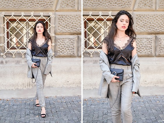 Jelena Dimić - Pull & Bear Oversized Plaid Blazer, Shein Lace Cami Top, Aliexpress Clutch Bag, Zaful Layered Necklace, Shein High Waist Plaid Trousers, Zaful Sandals - The third floor flat