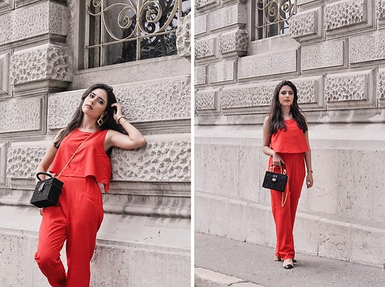 Jelena Dimić - Shein Red Jumpsuit, Studio 16 The Label Frida Earrings, Zara Minaudière Bag, Zara Color Block Shoes - Now she so relentless so nothing can stop her