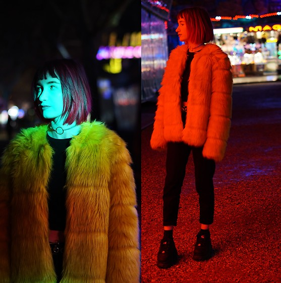 Lea B. - Bershka Faux Fur, Buffalo Shoes - Yellow fur