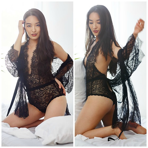 Kimberly Kong - Hanky Panky Lace Teddy, Hanky Panky Lace Robe - Where to Buy Sexy Lingerie Fit for a Goddess