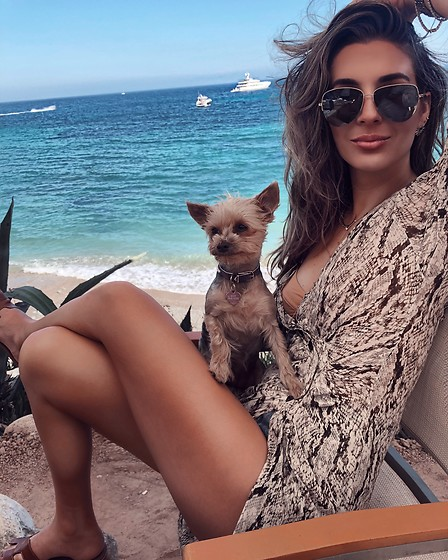 Alyssa Melendez - Zara Snake Dress Worn By Alyssa Melendez The Haute Brunette X Thb Marketing House, Le Spec Aviators Worn By Alyssa Melendez The Haute Brunette X Thb Marketing House - Ibiza Beach