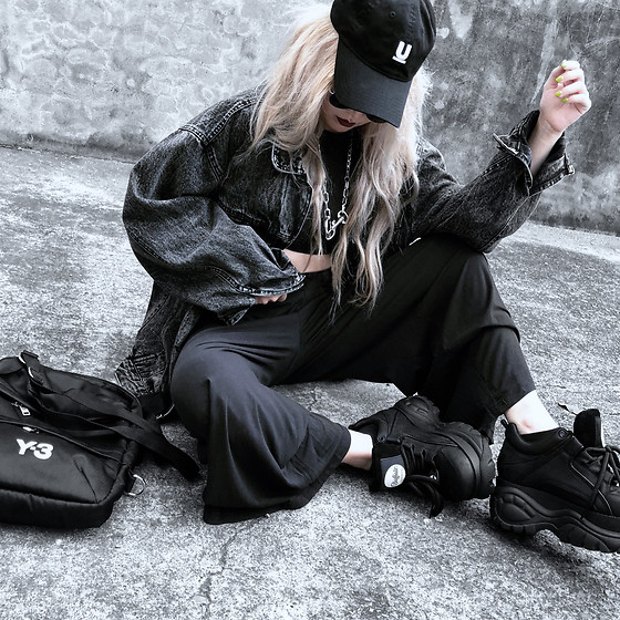 Vita Chen - Undercover Cap, Vii & Co. Black Acid Wash Denim Jacket, Vii & Co. Simply Vest + Wide Pants Set, Buffalo Leather Platform Sneakers, Y 3 Y 3 Bag - Only Black