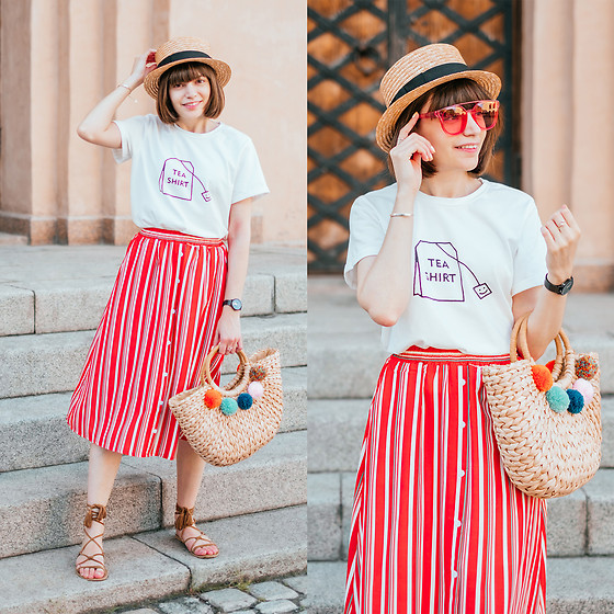 Christina & Karina Vartanovy - Straw Boater Hat, Zaful Cute T Shirt, Zaful Button Embellished Striped Skirt, Zaful Straw Pom Pom Tote Bag, Asos Suede Tie Leg Sandals - Kristina // the good side