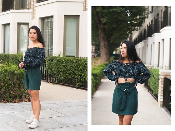 Thuy Pham - Polka Dot Dark Green Crop Top, Green Suede Skirt, Converse White Shoes - Green matching set