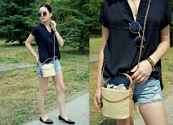 Marija M. - Shein V Neck Top, Terranova Denim Shorts, Ebay Straw Bucket Bag - It's ok to be vulnerable