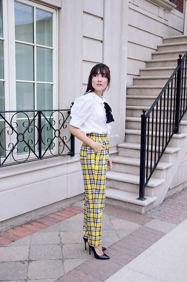 Carolina Pinglo - Shein Plaid Pants, Zara Blouse - Yellow Plaid Pants