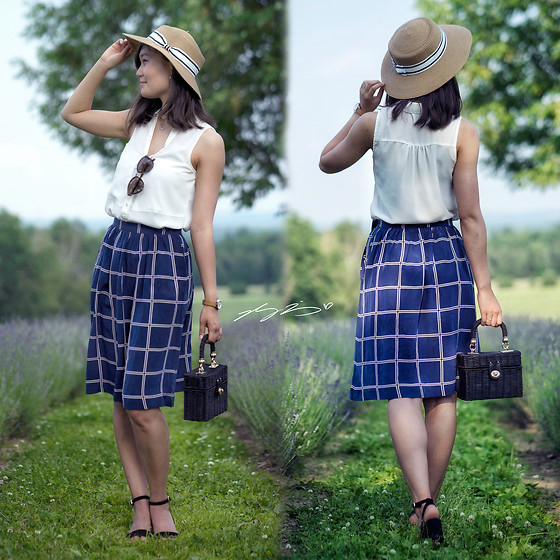 L Z - Sunhat, Dynamite Top, Vintage Windowpane Silk Skirt, Zara Raffia Purse, Massimo Dutti Sandals - Bleu Lavande