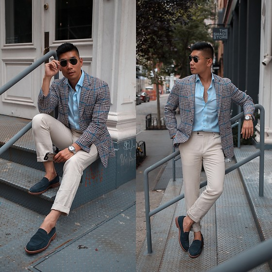 Leo Chan - Levitate Style How To Wear: Summer Business Casual Two Ways, Prada Teddy Sunglasses, Suit Supply Plaid Blazer - Business Casual Summer Plaid