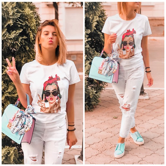 Vlada Avornic - Maykea Mea T Shirt, Aldo Bag, Ilapti Shoes, Sofi&Co Jeans - All white with a pop of color
