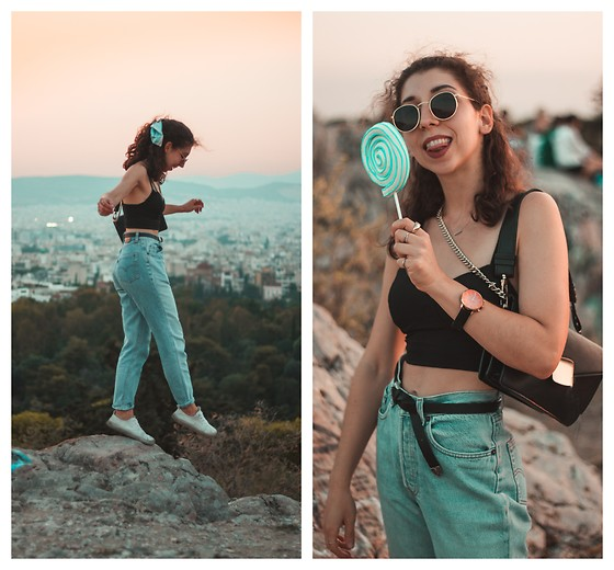 Theoni Argyropoulou - Pull & Bear Round Sunglasses, Bershka Crop Top, H&M Belt, Levi's® Vintage Mom Jeans, Mango Bag, H&M White Sneakers, Watch - Exploring Athens Hidden Gems on somethingvogue.com