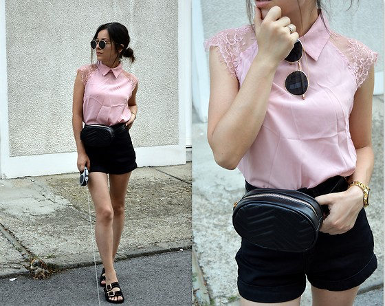 Marija M. - Shein Lace Sleeves Blouse, Ebay Waist Bum Bag, Zaful High Waist Shorts, Tally Weijl Double Buckle Slides - Pink and lace