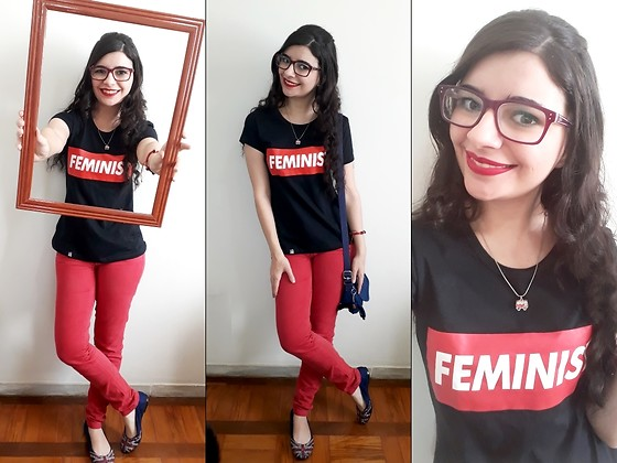 Luly Lage - Minka Camisetas Feministas Feminist T Shirt, I Love Acessórios London Bus Necklace, Kipling Blue Bag, Red Pants, Petit Jolie Uk Flag Flats, Ray Ban Red Glasses, Red And Blue Bracelet - Women are ART