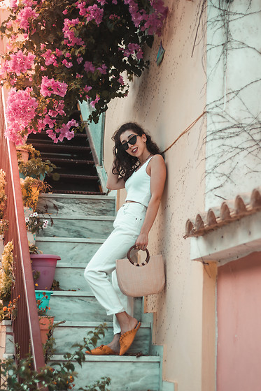 Theoni Argyropoulou - Undershirt, Levi's® Straight Mom Jeans, Zaful Flat Mules, Zaful Straw Bag, Cat Eye Sunglasses - Bella Hadid inspired outfit on somethingvogue.com