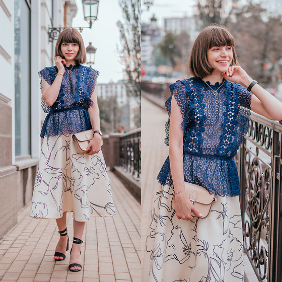 Christina & Karina Vartanovy - Chicwish Navy Blue Crochet Top, The Leather Satchel Hipster Nude Bag, Chicwish Cream A Line Midi Skirt, Rosegal Black Ankle Strap Heeled Sandals - Kristina // sky full of song
