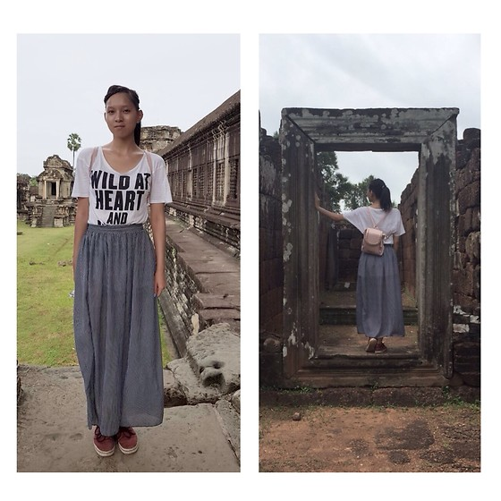 Tram Anh - Cheap Monday Shirt, American Apparel Maxi Skirt, Adidas Sneaker, Andrew Marc Backpack - Bury your secrets