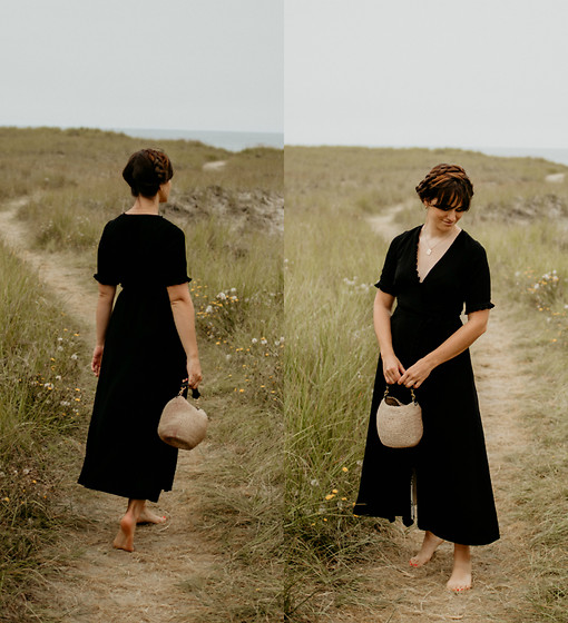 Tonya S. - Fauxgerty Marianne Dress, Clare V Basket Bag - On the Beach in Fauxgerty
