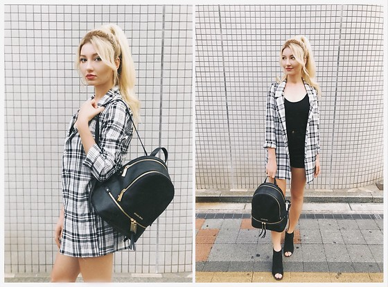 ♡Anita Kurkach♡ - Zaful Blazer, Michael Kors Bag, Zaful Bodysuit, Zaful Shorts - Back to School