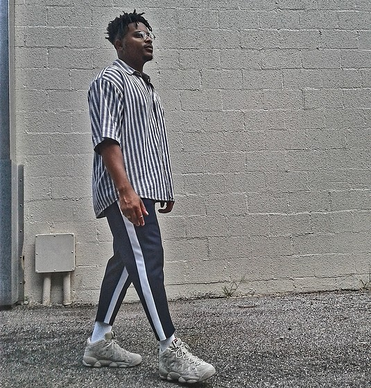 Jason - Fila Spaghetti, Forever 21 Stripe Pants, Thrifted Stripes Shirt - Stripes ll