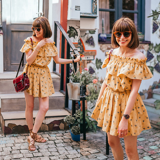 Christina & Karina Vartanovy - Pull & Bear Metal Sunglasses, Chicwish Yellow Pineapple Off Shoulder Playsuit, The Leather Satchel Patent Oxblood Mini, Asos Suede Tie Leg Sandals - Kristina // catch the wind