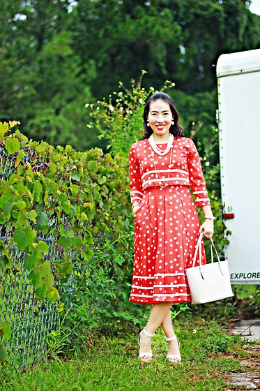 Hanh Nguyen -  - Red and White Polka Dot Dress