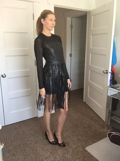Cindy Batchelor - Black Faux Leather Long Sleeved Fringe Mini Dress - Black Faux Leather Long Sleeved Fringe Mini Dress