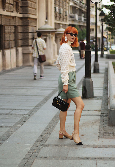 Ana Vukosavljevic - H&M Blouse, Giant Vintage Culottes, Shoes Of Prey, Vintage Bag, Gucci Sunglasses - Changes