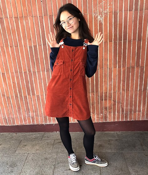 Anne - Episode Terracotta Dress, Converse Mom Sneaks, Lacoste Thrifted Pullover - Terracotta 🍁