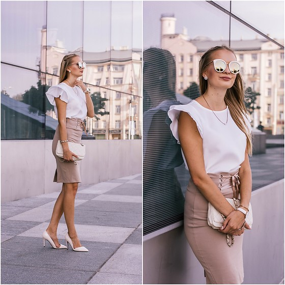 Madara L - Shein White Ruffle Blouse, New Yorker Beige Pencil Skirt, Asos White And Gold Sunglasses - Back to the office outfit