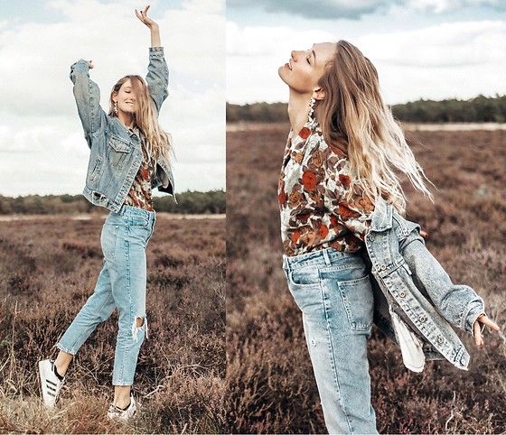 Eva Velt - Vintage Blouse, Topshop Jeans, Laura Christmann - Laurachristmann earrings