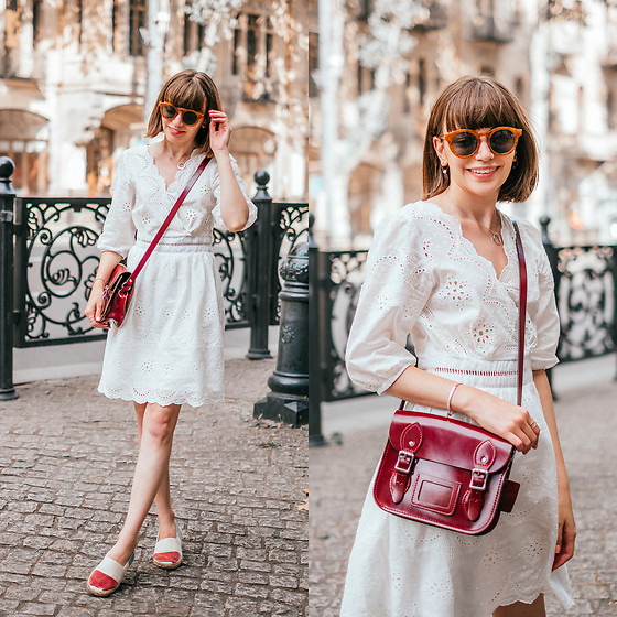 Christina & Karina Vartanovy - Chic Wish White Eyelet Embroidered Dress, The Leather Satchel Patent Oxblood Mini, Oas Italy Espadrilles, Pull & Bear Metal Sunglasses - Kristina // i've told you now