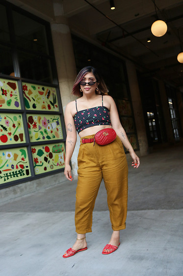 Yuka I. - Cherry Top, Mustard Pant, Red Sandals, Red Fanny Bag - Little cherries