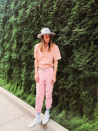 Dustin Faires - Adidas White Sneakers, Adidas Striped Socks, Thrifted High Waisted Corduroy Pants, Urban Outfitters Salmon Short Sleeve Button Up, Urban Outfitters Pink Tint Sunglasses, Goorin Brothers Gray Flat Brim Hat, Forever 21 Chain Bracelet, Silver Rings, Shoestring Belt - C O T T O N C A N D Y