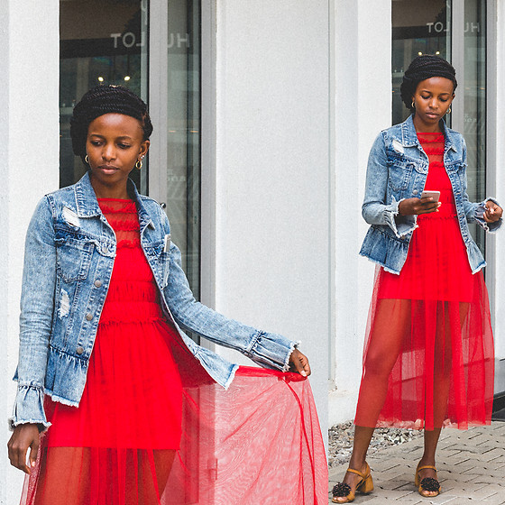 Oroma Roxella Rukevwe -  - RED MESH & DENIM