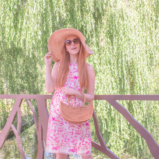 Sonja Vogel - Ana Alcazar Dress With Pink Embroideries, From Bali Straw Bag, Asos Straw Floppy Summer Hat - A Day In The Park