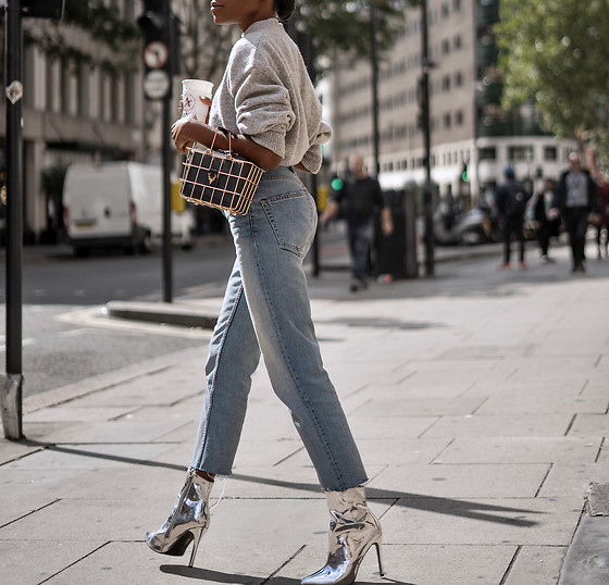 Rachel O. - Zara Mid Waist Jeans, Public Desire Metallic, Jovonna Caged Bag, And Other Stories Sweater - Street Style Vol.x