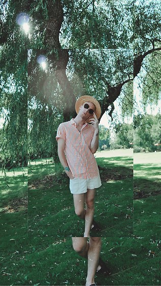 William Dober - H&M Striped Shirt, American Apparel Corduroy Shorts, Birkenstock Sandals, Maxmara Round Glasses - 🌞🌼🧡