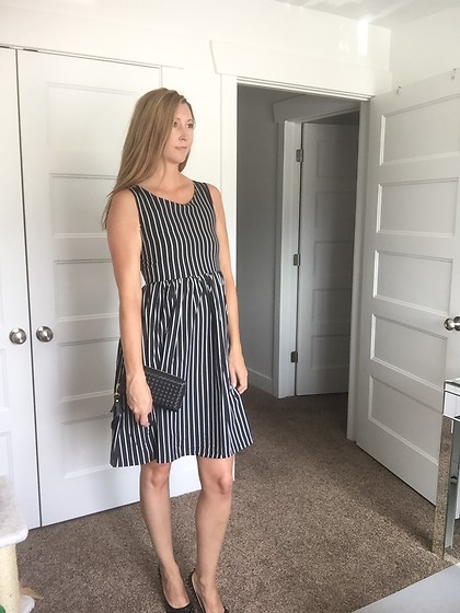 Cindy Batchelor - Black And White Striped Sleeveless Dress - Black and White Striped Sleeveless Dress