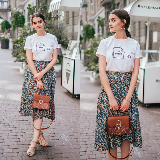 Christina & Karina Vartanovy - Zaful Cute Print White T Shirt, Zapalstyle Chiffon Floral Tie Fishtail Skirt, Rosegal Brown Sequined Small Shoulder Bag, Zapalstyle Faux Suede Lace Up Block Heel Sandals - Karina // postcard