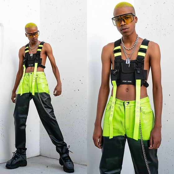 Dominic Grizzelle - Buffalo Boots, Diy Pants, Zerouv Moto Shades - NEON DREAMZ